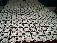 Vintage Hand Crochet Cotton Ecru Tablecloth 64x52