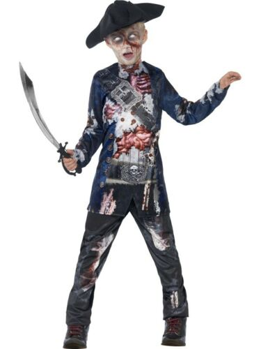 Boys Jolly Rotten Zombie Pirate Costume Hat Scary Halloween Fancy Dress Outfit