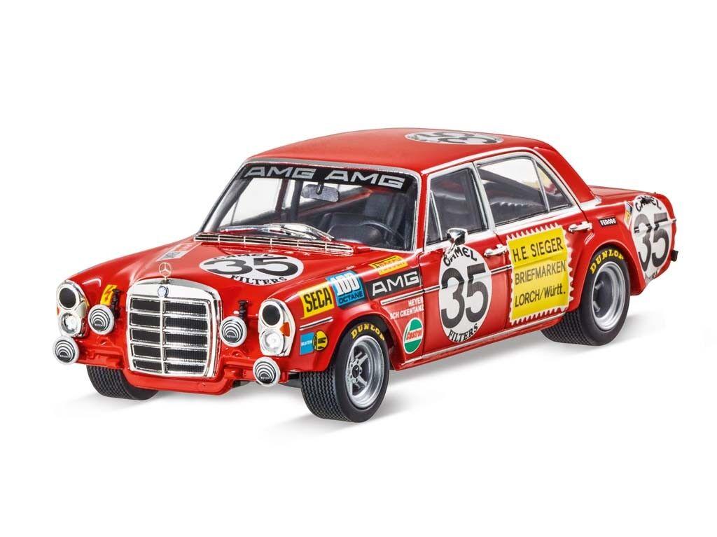 MERCEDES-BENZ MODELLO DI AUTO OLDTIMER AMG 300 SEL 6.8 auto da corsa 1 43 rojo Retro 1971
