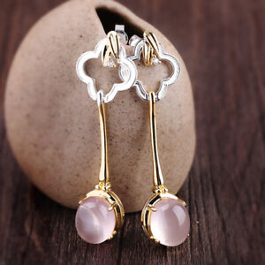 A03-Earring-Four-Leaf-Clover-Rose-Quartz-Silver-925-Partly-Gold-Plated