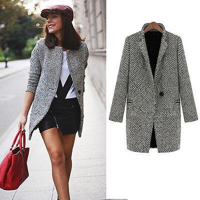 New  Women Winter Lapel Cashmere Jacket Long Parka Trench Coat Outwear