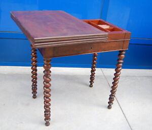 Tavolino da gioco in mogano Luigi Filippo metà '800 fronte 65 cm