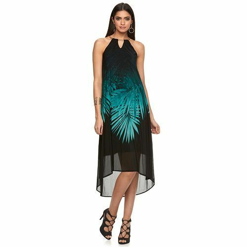New Jennifer Lopez Women Printed High-Low Halter Dress Variety color&Sizes