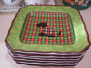 6-222-Fifth-CHRISTMAS-SCOTTY-ARGYLE-Square-Salad-Plates