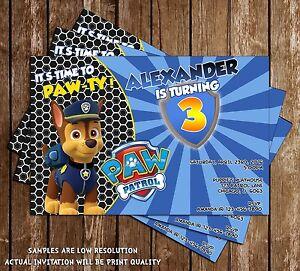Paw patrol chase shield nick jr birthday invitations 15 image is loading paw patrol chase shield nick jr birthday invitations filmwisefo