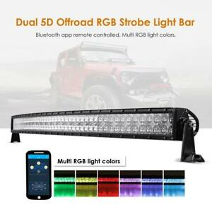 """5D+ 52"""" inch 300W CURVED RGB Led Light Bar Multicolor Offroad for Jeep Ford ATV"""