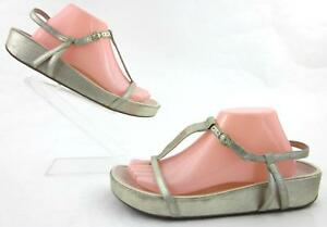 3409ddd6771 Taryn Rose  Amor  Ankle Strap Thong Platform Sandals Soft Gold US ...