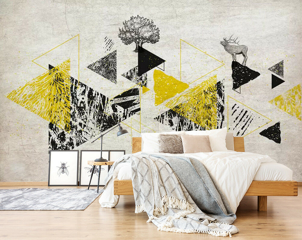 3D Yellow Triangle 27 Wall Paper Exclusive MXY Wallpaper Mural Decal Indoor