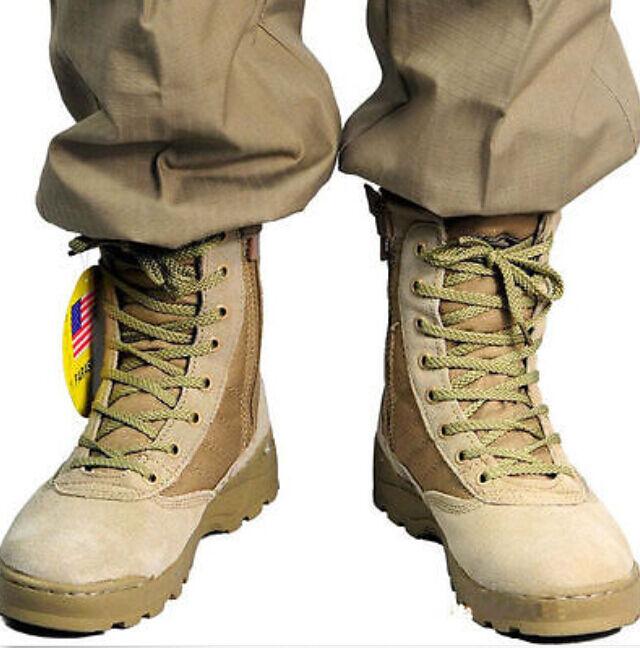 Men New Multicolor Original Swat Classic Military Desert Tan Zip Outdoors Boots