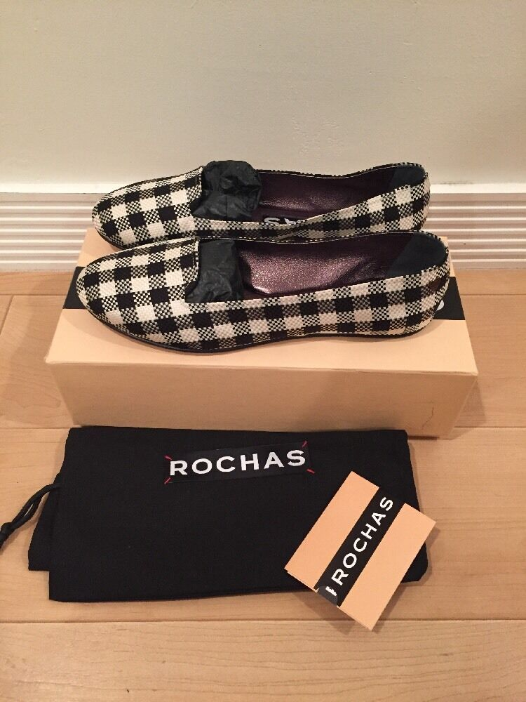 ROCHAS Checkered Ballet Flats Slip On Loafers 38