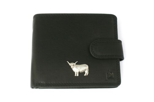 Highland Cow Mens Leather Wallet BLACK or BROWN Farming Gift