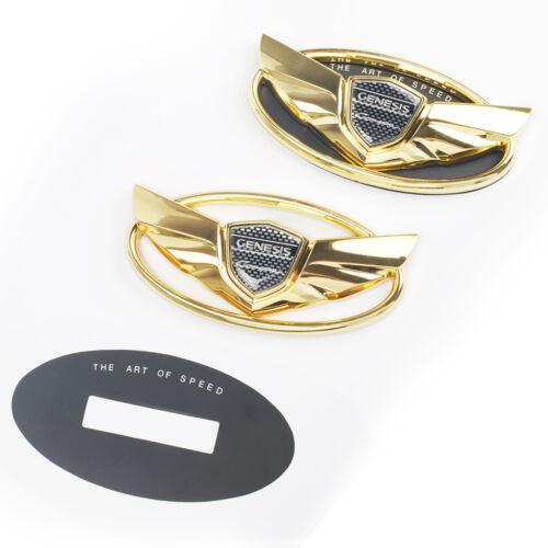 Set 2pcs 2010-2016 Fit For Hyundai Genesis Coupe Gold Chrome WING Logo Emblem