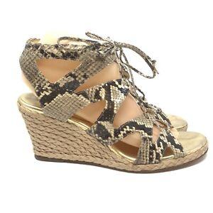 Coach-Bonnet-Womens-Size-8-5-Snakeskin-Brown-Platform-Wedge-Heels-Shoes