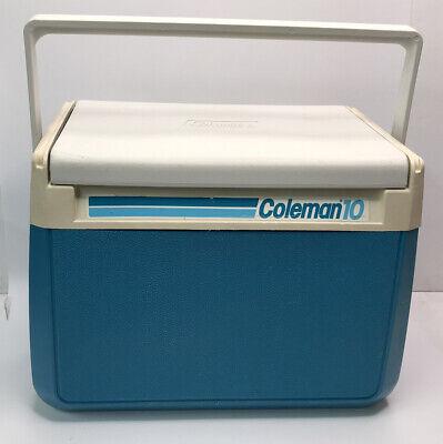 Vintage 1989 Coleman 10 Cooler Ice Chest 5210 Flip Lid Blue Green Aqua Teal Cup Holder Retro