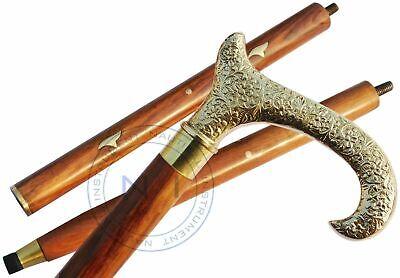 Details about  /Victorian Walking Stick Derby Brass Handle Black Wooden Cane Handmade Style gift