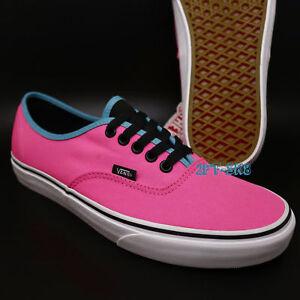 0df2a42e24 Vans Authentic Brite Neon Pink Black Skate Shoes Mens 9 Womens 10.5 ...