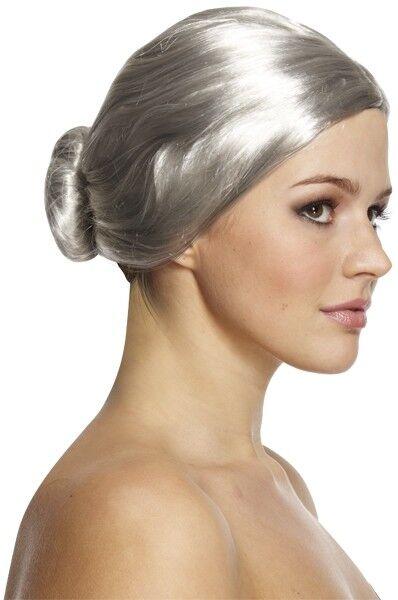 Nurse Old lady Grey Granny Bun Wig Fancy Dress Accessory Granny Teacher