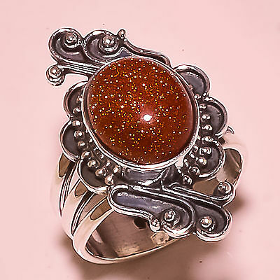 RED SUN STONE  925 STERLING SILVER RING SIZE 6  US