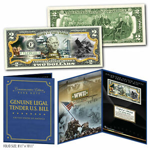 ATTACK-ON-PEARL-HARBOR-WWII-Genuine-U-S-2-Bill-in-8x10-Collectors-Display