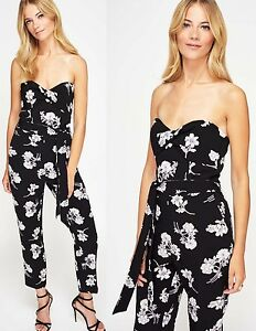 dadff619f19 Image is loading Miss-Selfridge-Black-Floral-Print-Bandeau-Jumpsuit-Size-