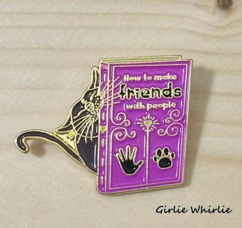 Cat Brooch Pin Badge Black Enamel Gift Book Cat Lover Jewellery Reading Book