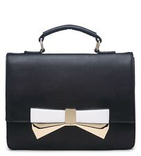 New Handy Size Black Top Handle Satchel style Bag With White Bow and Gold Detail