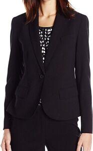 Anne Klein Women's Jacket Deep Black Size 6 Single Button Seamed $119 #213