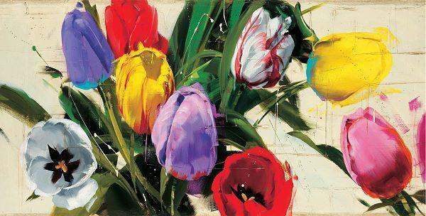Antonio Massa: Spring n.13 Fertig-Bild 70x137 Wandbild Grossformat XXL Blumen