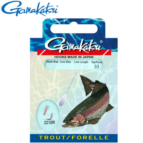 10 gebundene Forellenhaken Haken Angelhaken Gamakatsu Trout LS-2210 rot