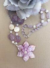"""18.5"""" Lavender Carved MOP 3D Flower & Amethyst Sterling Silver Pendant Necklace"""