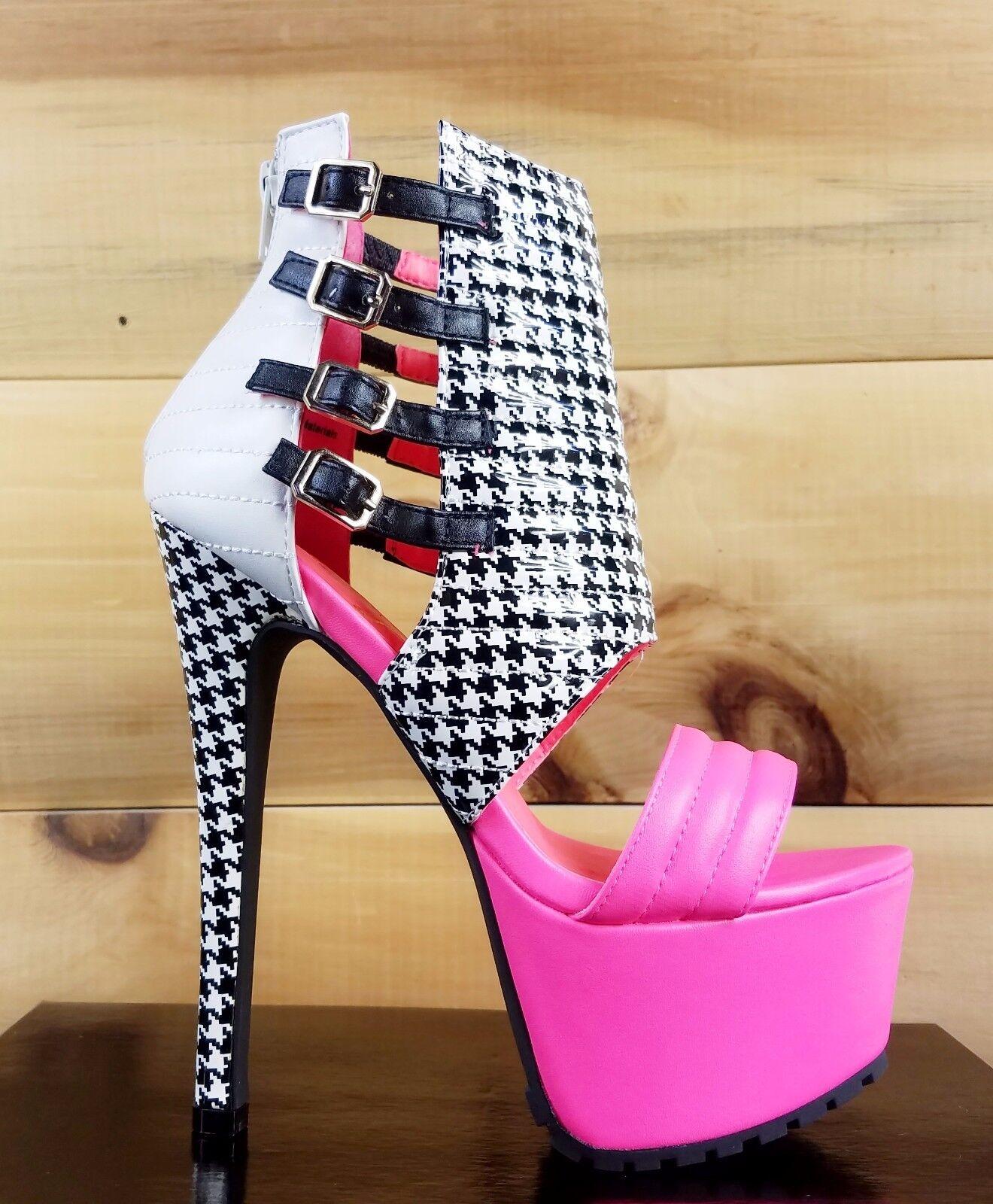 Privileged Xpress Neon rosa nero & bianca Houndstooth High Heel Platform scarpe