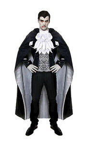 Hombre Drcula Disfraz Vampiro de Halloween Largo Capa NUEVO 4042