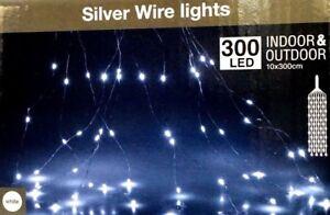 Dettagli su CATENA TENDA CASCATA LUMINOSA 300 LED BIANCO FREDDO LUNG  3 MT  10 RAMI INT/EST