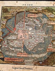 OLD MAP- MEXICO CITY - B. BORDONE - 1528 | eBay City Map Of Mexico on