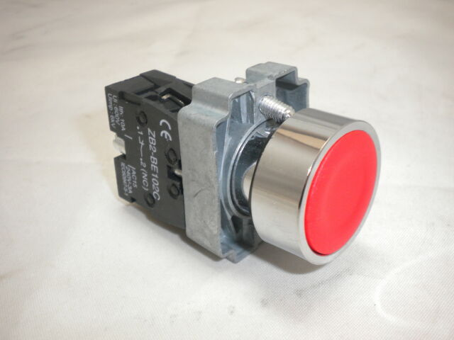 RED STOP 22MM N/C CONTACT PUSHBUTTON PANEL MOUNTING  XB2-BA42