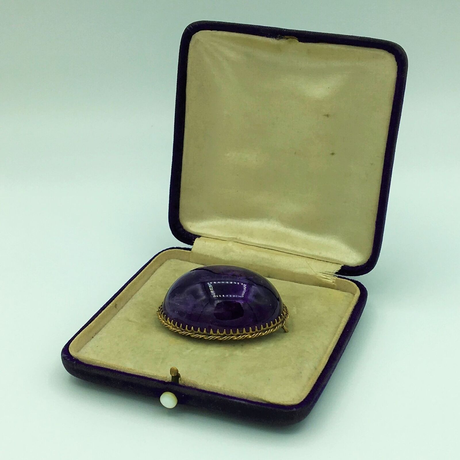 Faberge Czarist Period 14K Yellow gold with 150 Carat Imperial Amethyst Brooch