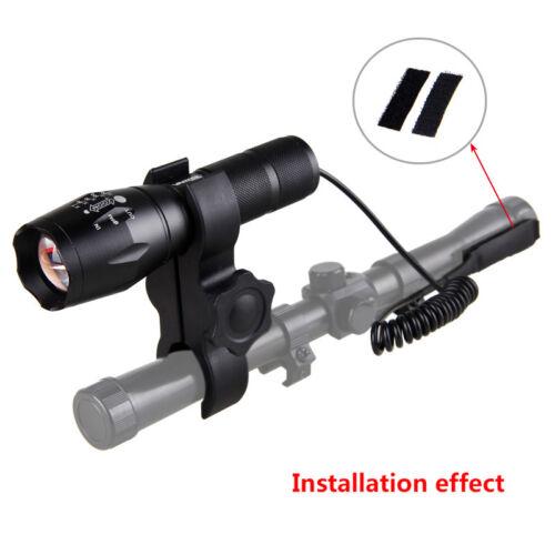 Green 5000Lm LED Adjustable Focus Flashlight Hunting Torch Light Rife Lamp Mount