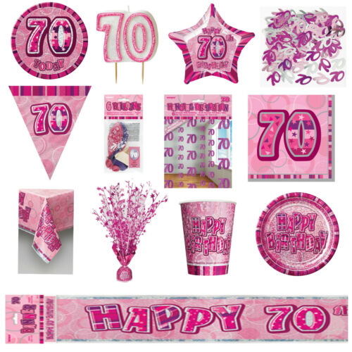 Pink Glitz Party Tableware Ages 13-100 Party Supplies Decorations Banners Candle