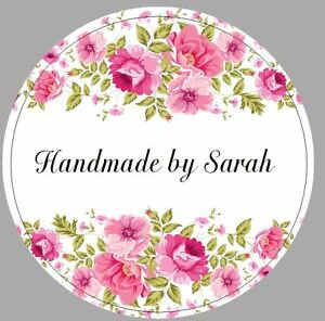 24 X 40mm Personalised Stickers Round Labels Vintage Rose Pink