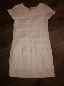 Women-s-0-J-CREW-White-Ruffle-Short-Sleeve-Button-Dress-Cotton-XS-EUC