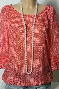 ESPRIT-Bluse-Gr-40-rot-weiss-3-4-Arm-Muster-Chiffon-Hueft-Bluse