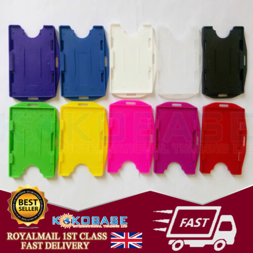 Double Sided Plastic Rigid ID Card Badge Holder FREEPOST Choose Your Colour
