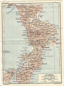 Cartina Giografica Calabria.Calabria Carta Geografica Touring Club 1928 Ebay