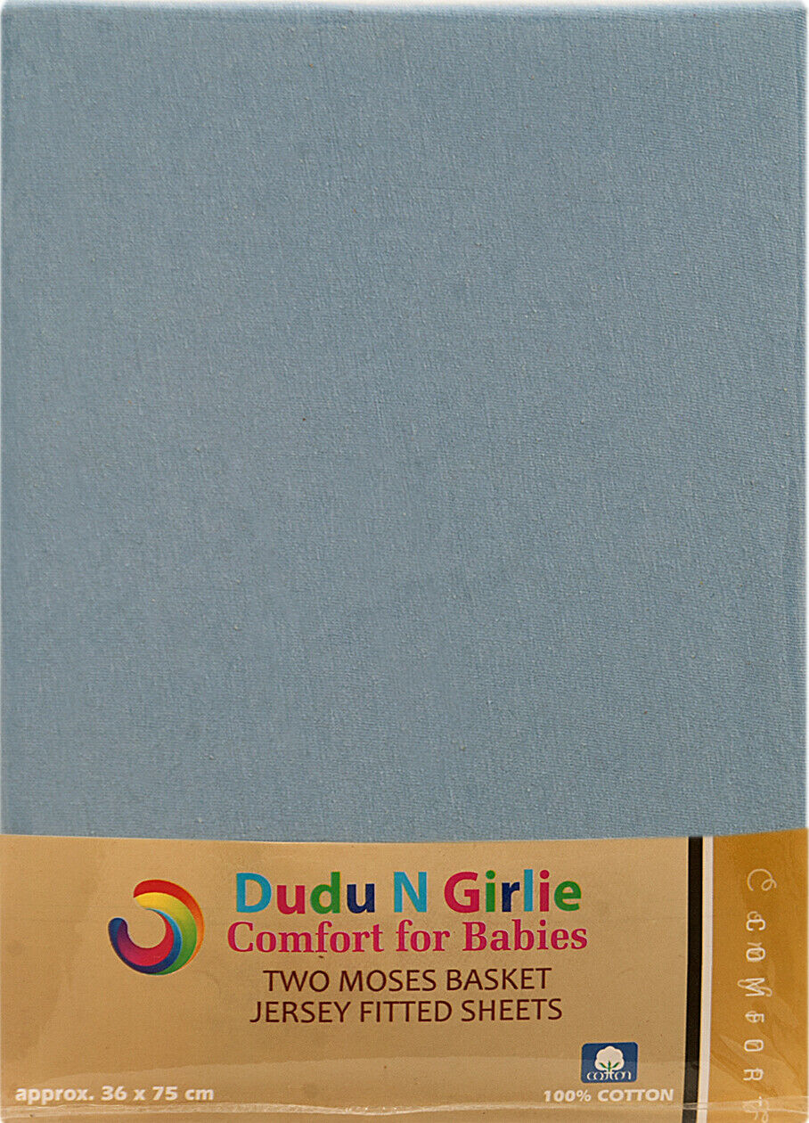 Dudu N Girlie Cotton Moses Basket Fitted Sheets Flower Blue 2-Piece
