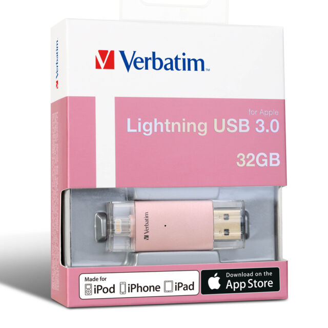 Verbatim 32gb Lightning USB Extended Memory Storage for iPhone 7 SE iPad Gold