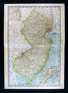 1885 Hardesty Map New Jersey Trenton Paterson Newark
