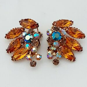 A-Really-Fabulous-Pair-of-Vintage-Golden-Yellow-Topaz-Large-Clip-on-Earrings