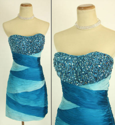 NWT Jovani Size 2 Short Strapless Evening Cruise Prom Dress bluee  Club Gown