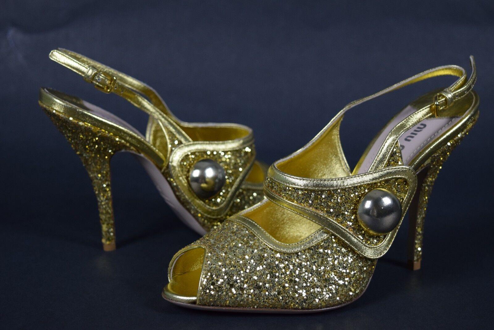 NIB Womens MIU MIU gold Glitter Sparkle Heels shoes  Made In  sz 7.5 US