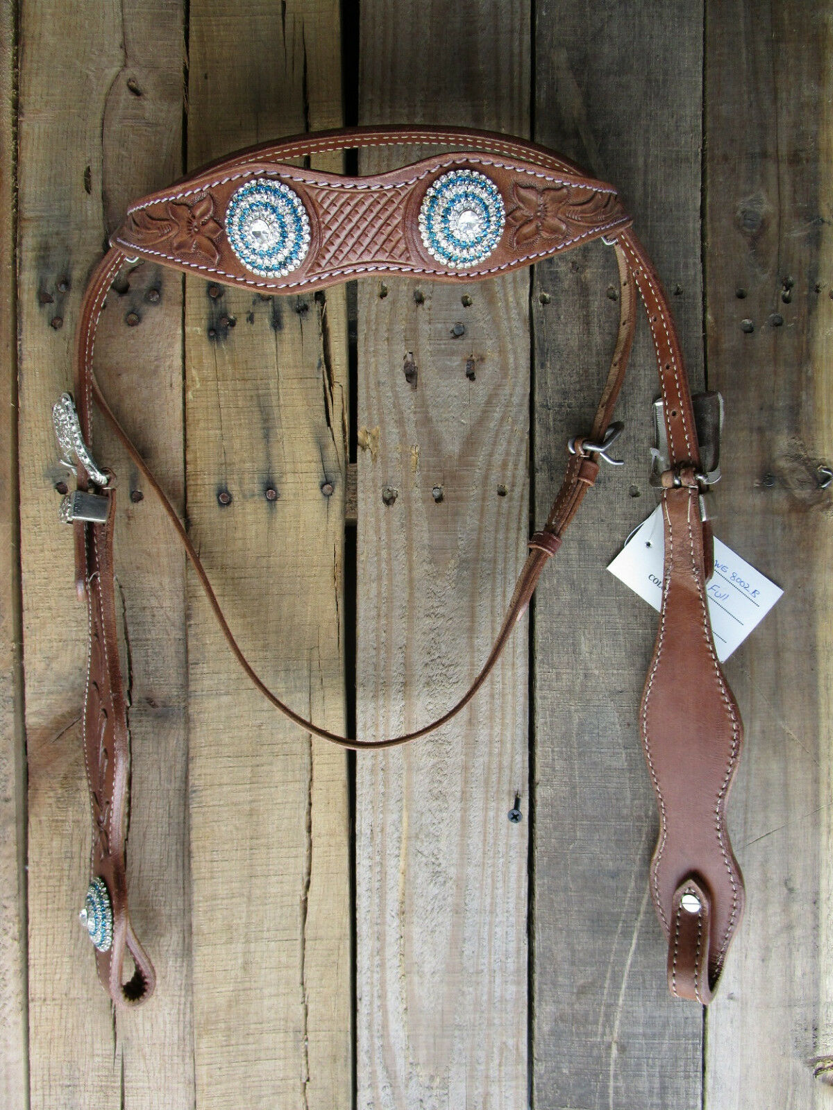 WESTERN HEADSTALL TURQUOISE blueE BARREL SHOW TRAIL PLEASURE LEATHER HORSE BRIDLE